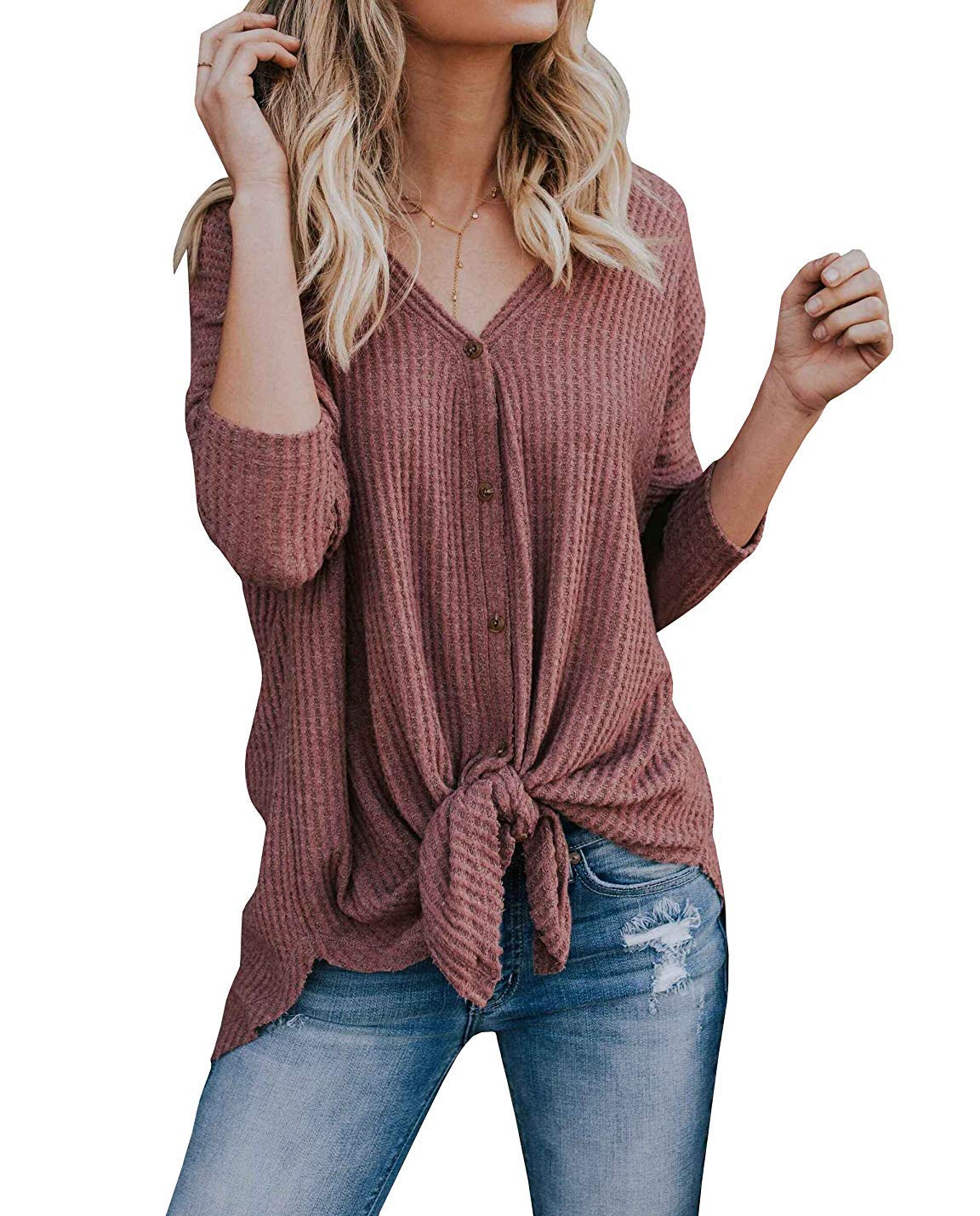 Maxjeef Long Sleeve Loose Fit Tops Ribbed Knit Tie Knot V Neck Button Front Shirts (Rust Red, XX-Large)