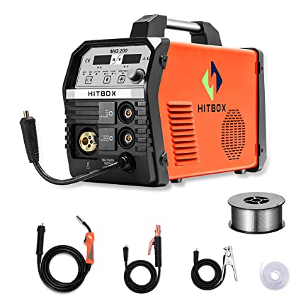 HITBOX MIG Welder 200Amp Inverter MIG ARC Lift TIG Gas Gasless 4 in 1  Multifunction MIG Welding Mahcine 220V Flux Cored Wire Solid Core Wire  Welding