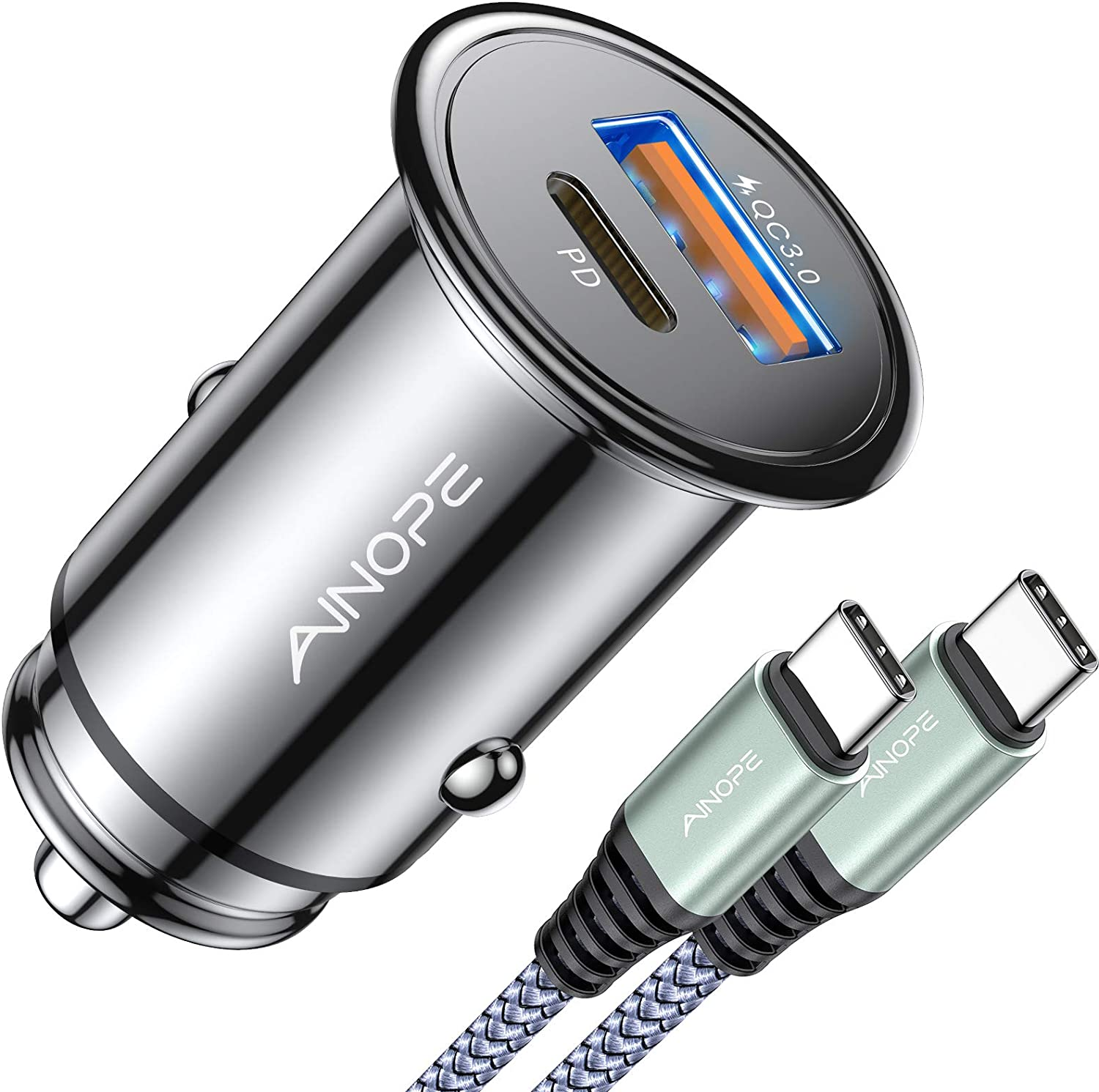 USB C Car Charger 42W Super Mini AINOPE All Metal Fast USB Car Charger PD&QC 3.0 Dual Port Car Adapter Compatible with iPhone 12/12 Pro/Max/12 Mini/iPhone 11/Pro/Max/XR/XS/Max/8, Galaxy S21/20/10/9