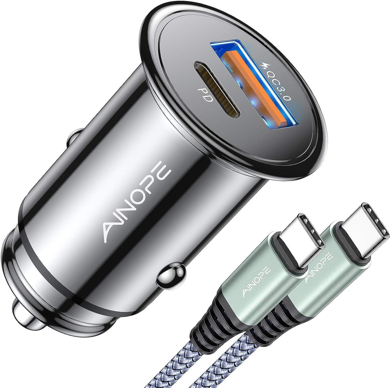 Cargador de coche con puertos USB A,  USB C + cable USB C.
