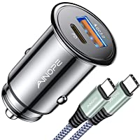 USB C Car Charger Super Mini AINOPE All Metal 36W Fast USB Car Charger PD&QC 3.0 Dual Port Car Adapter Fit Compatible with iPhone 11/11 Pro/11 Pro Max/XS, Note 10/S10, Pixel 3/2/XL
