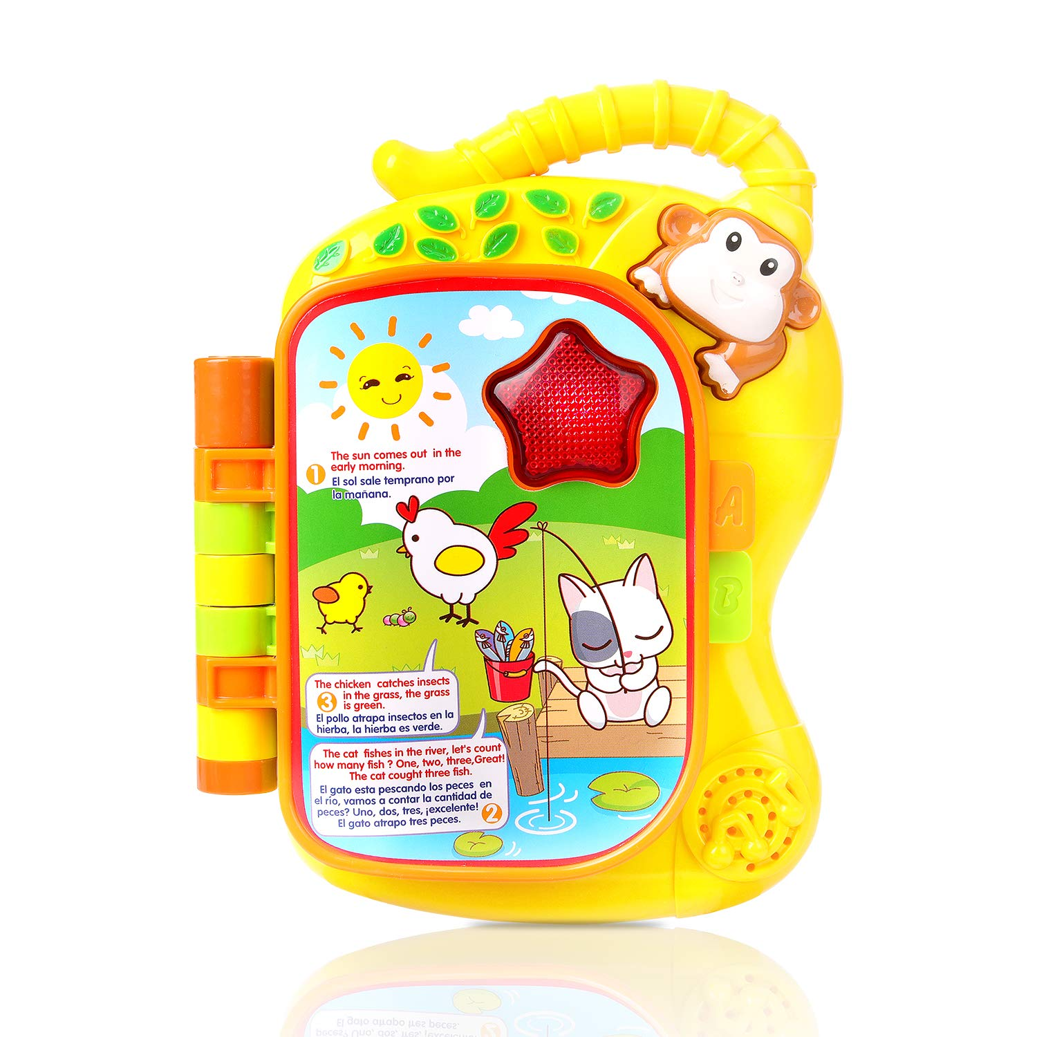 M SANMERSEN Learning Baby Book Toy, Early Education Colourful Monkey Animals Flip Toy Story Baby Book in Spanish and English with Music LED Light and Sound ...
