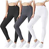 SanAogo Leggings for Women 3 Pack High Waisted Tummy Control Squat Proof Yoga Pants for Workout Running, Buttery Soft