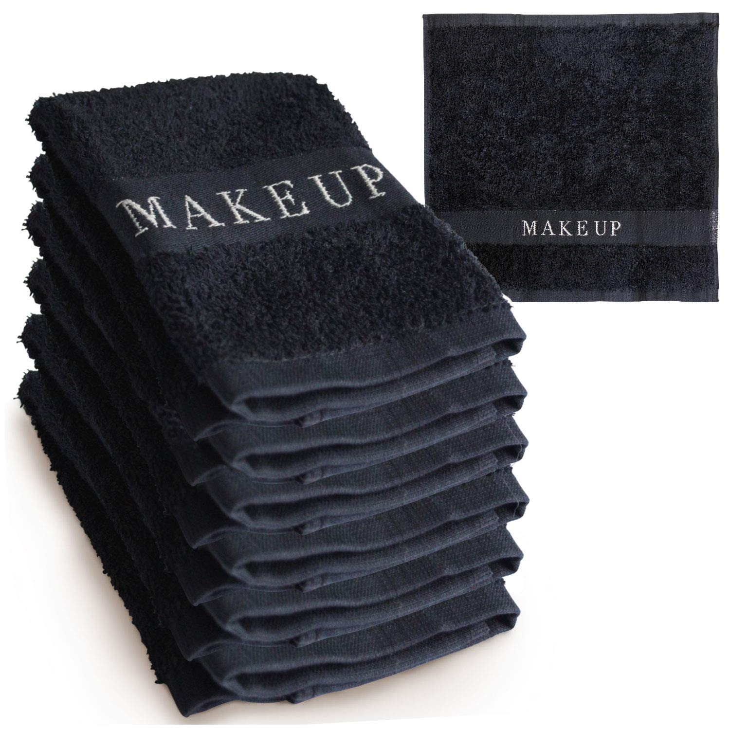 The Little Black Towel Makeup Remover Cloth - Luxury Washcloths for Gentle Face Wash & Removing of Eye Liner & Mascara, plus Foundation Eraser w/ Bleach Resistant Cotton & Soft Jacquard Lettering (6)