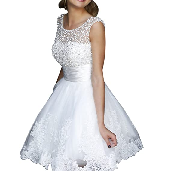 Lace Short Wedding Dress White Cocktail Princess Knee-Length Chiffon Prom Dress (UK 6