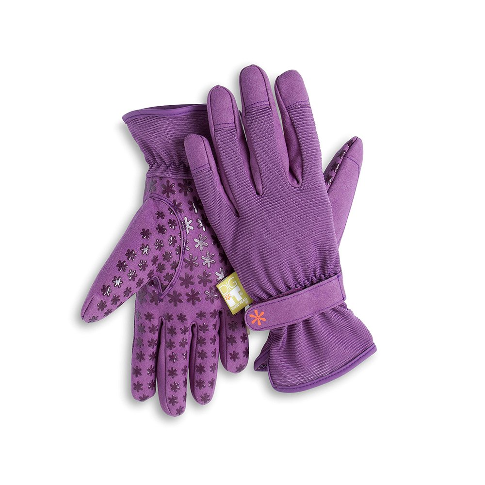 Dig It Handwear Innovative Womens Utility Garden Gloves with Nail Protection, Water Resistance, Improved Dexterity, Durable Reinforced Fingers, Purple, X-Large