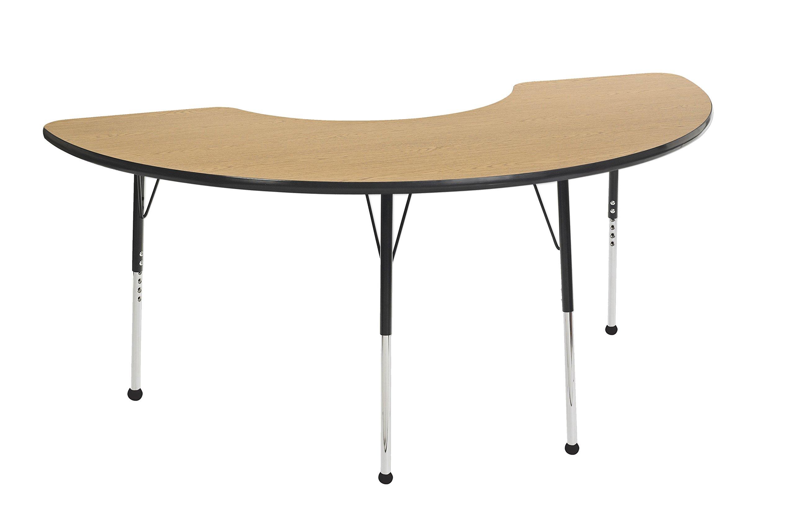 ECR4Kids 36'' x 72'' Half Moon  Activty School Table, Standard Legs w/Ball Glides, Adjustable Height 19-30 inch (Oak/Black)