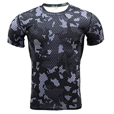 1Bests Men's Sports Fitness Camouflage Short Sleeve Tight Shirts Running Fast Drying Compression T Shirts