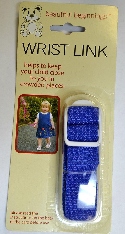 Beautiful Beginnings Adjustable Baby Wrist Link Rein Restrain Safety Toddler Walking in Navy