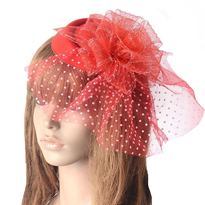 d639d12468dde Image Unavailable. Image not available for. Color  Red Flower Mesh Wedding  Hat Women Fascinator Dot Veil ...