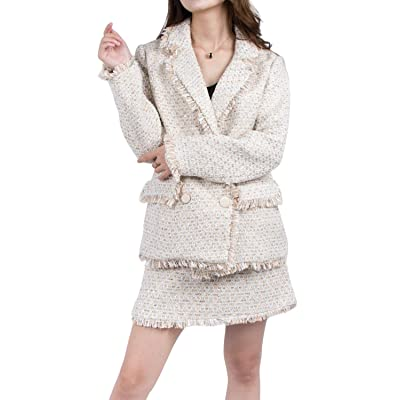 ALABEL Women's Tweed Suiting Tow Piece Set Jacket Short Skirt Suit Fringe Coat Winter Spring Blazer with Pockets: Clothing