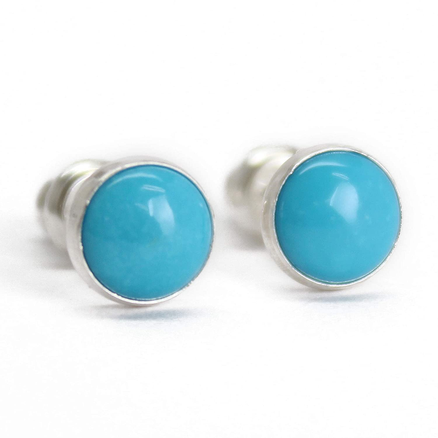 Silver Post Studs Stud Earrings Turquoise Blue and White Round Post Earrings Mini Studs Modern Pattern Small Studs