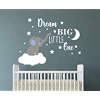 Dream Big Little One Elephant Wall Decal, Quote Wall Stickers, Baby Room Wall Decor, Vinyl Wall Decals for Children Baby…