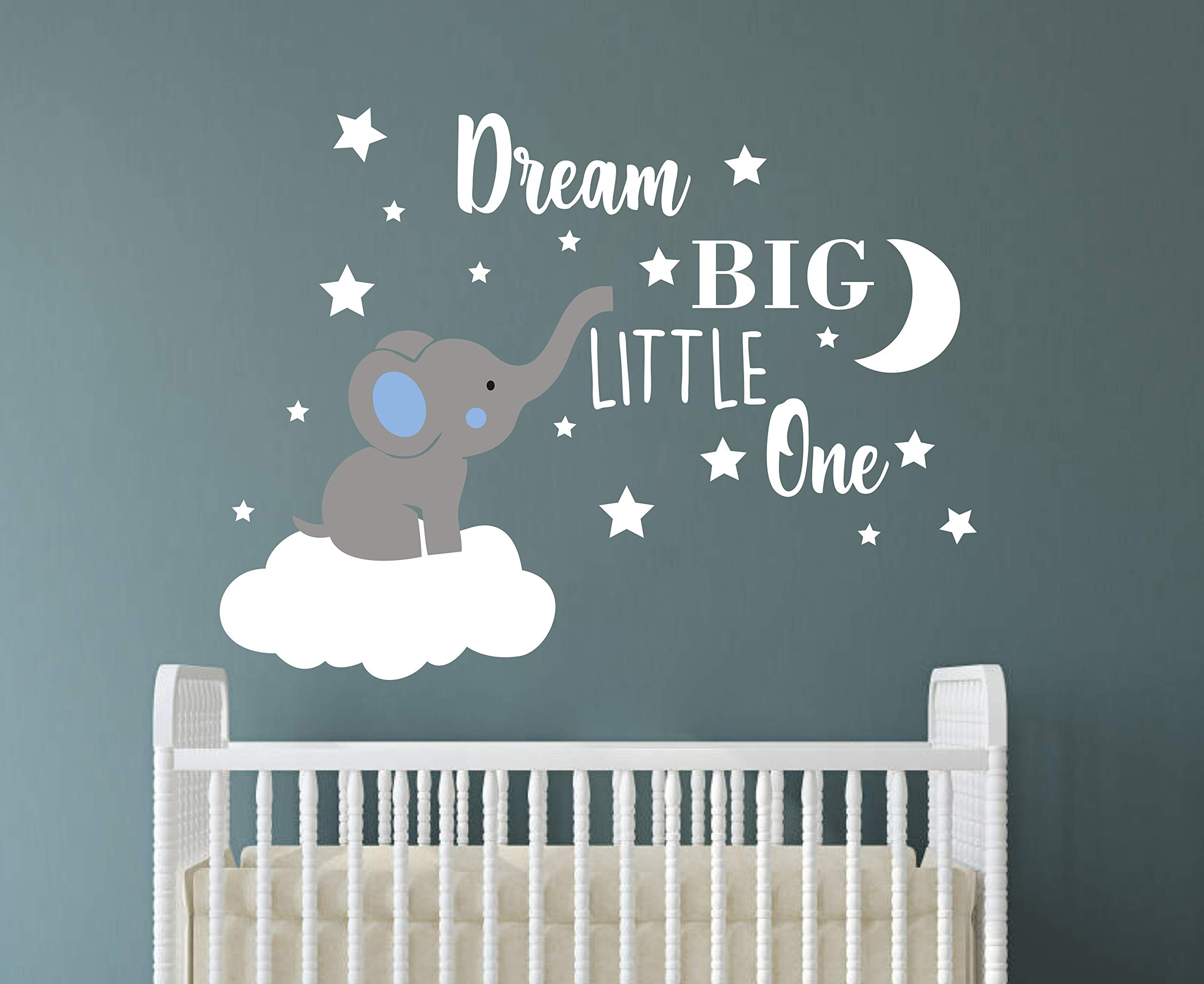 Dream Big Little One Elephant Wall Decal, Quote Wall Stickers, Baby Room Wall Decor, Vinyl Wall Decals for Children Baby Kids Boy Girl Bedroom Nursery Decor(Y42) (Blue,White(Boy)) by GESTYZ