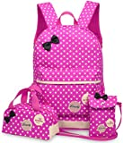 SODIAL(R) 3 Pcs/Set New waterproof Girl School Bags For Teenagers backpack women shoulder bags, Rose Red