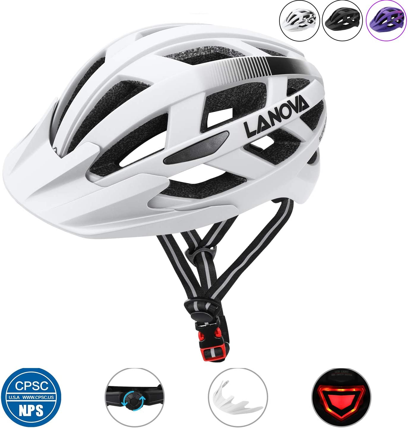 LANOVAGEAR Bike Helmet CPSC Certified Youth Adult Mountain Road Bicycle Helmet with Rechargeable LED Safety Light with Detachable Visor for Men Women