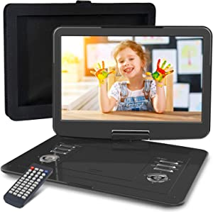 """WONNIE 16.9"""" Portable DVD/CD Player with 14.1"""" Large Swivel Screen, Car Mount Holder, 1280 x 800 HD LCD TFT, Built-in 4000mAH Rechargeable Battery, Resume Play, USB/SD Card/ AV in &Out"""