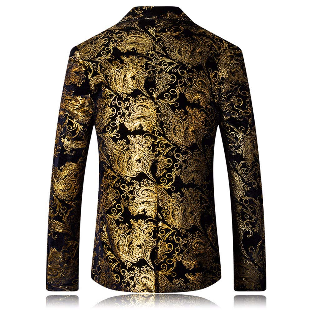 Homebaby Uomo Blazer Classic Fascino Floreale Blazer Un Pulsante Uomo Giacca da Abito Elegante Fiesta Maniche Lunghe Colletto Cappotto Fashion Formale Casual Lavoro Pulsante Completo