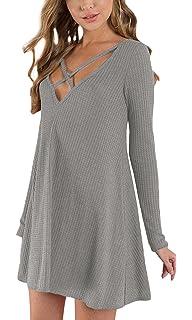 WOZNLOYE Frühling und Herbst Kleider Damen Sexy V Schnitt Langarm Rückenfrei  Kurz Kleid Blusenkleid Fashion Bandagen fb0368c42f