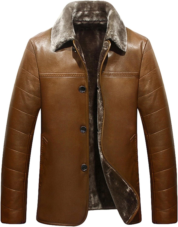 PENER Autumn and winter fashion mens business lapel luxurious fur PU leather jacket