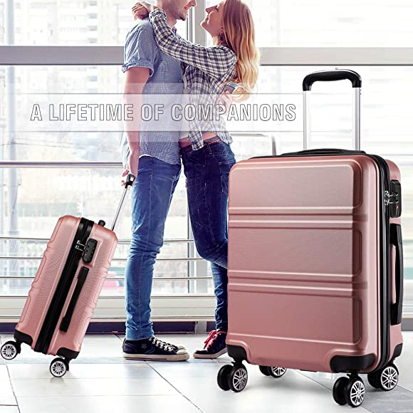 Kono 20 inch lightweight Durable Suitcases with 4 Wheels and Combination Lock Carry-On Suitcase for Travel Rose Gold