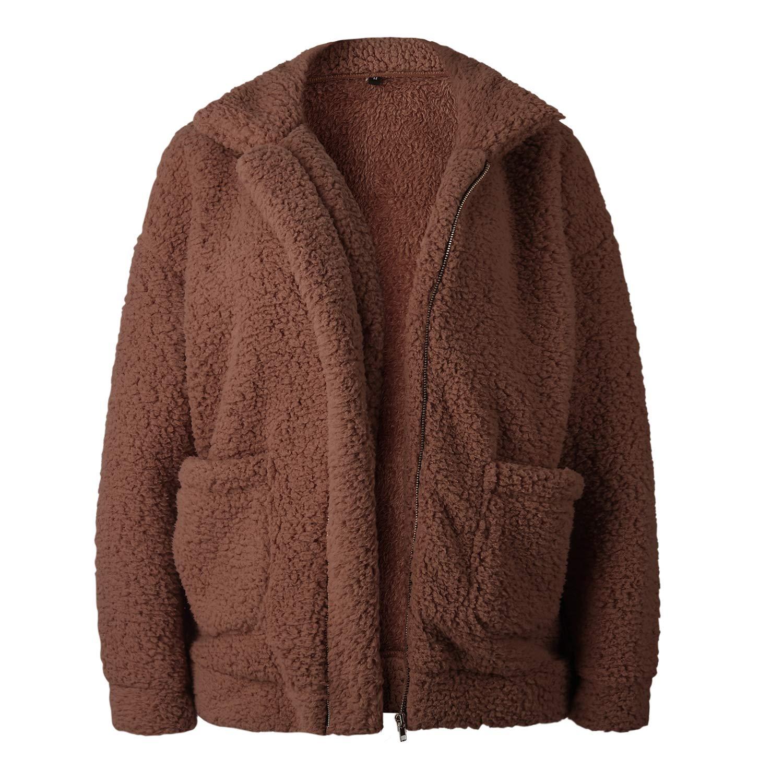Donna Felpa Senza Cappuccio Maglione Inverno Caldo Lana Cerniera Outwear Pile Pelliccia Inverno Manica Lunga TSWRK Giacca Donna Elegante