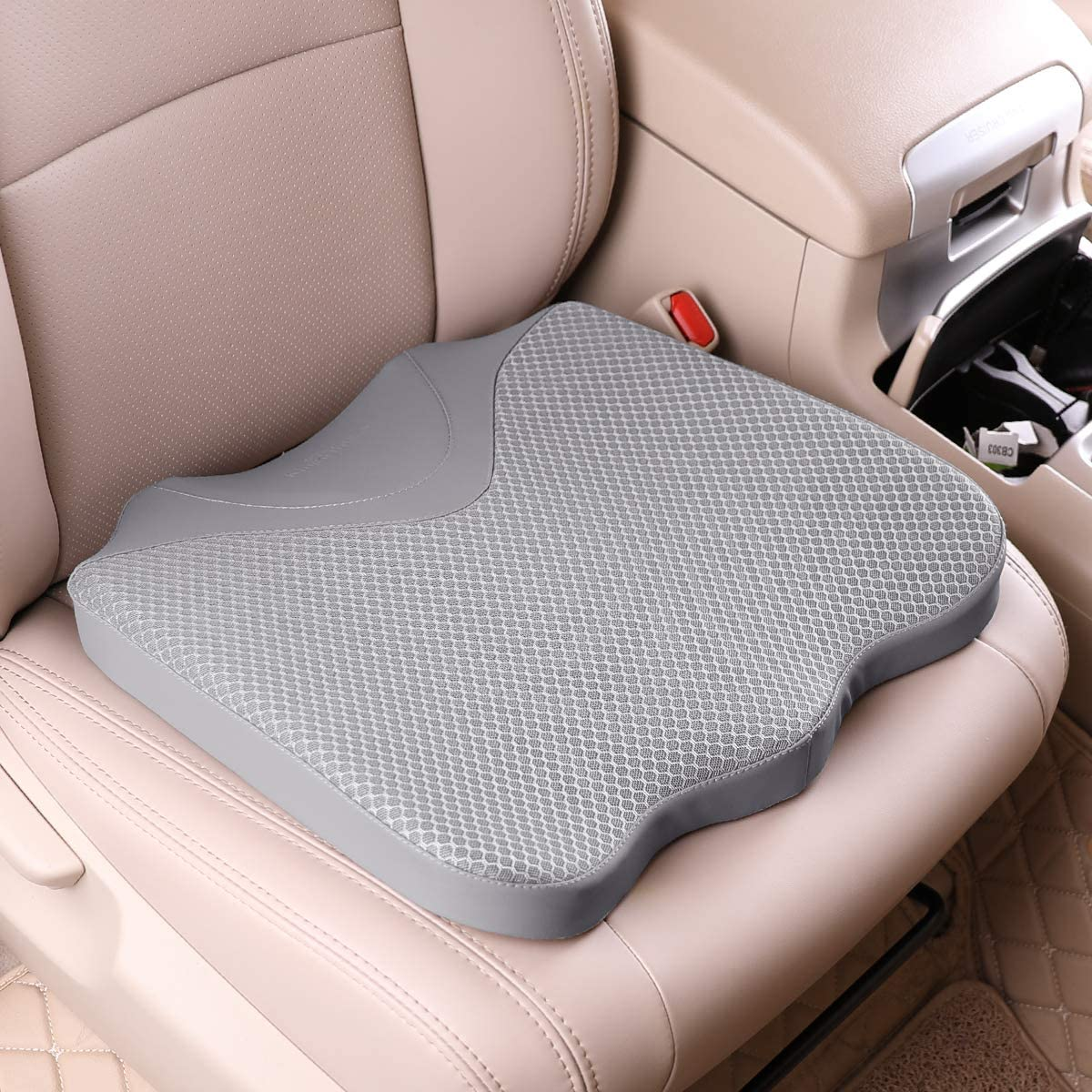 KINGLETING Car Seat Cushion, Driver Seat Cushion for Height, Universal Fit for Most for Auto SUV Truck,Provides Good Driving Visibility (Gray)