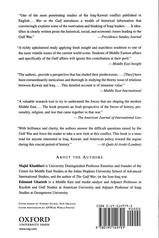 War in the Gulf, 1990-91: The Iraq-Kuwait Conflict and Its Implications:  Majid Khadduri, Edmund Ghareeb: 9780195149791: Amazon.com: Books
