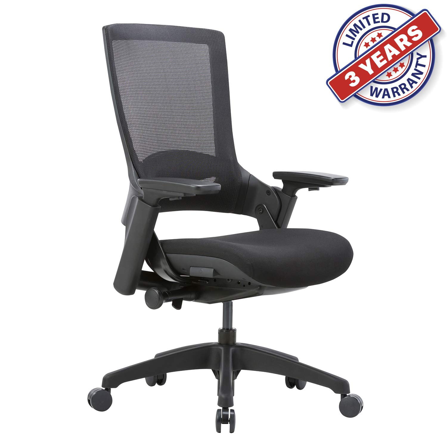 CLATINA Ergonomic High Swivel Executive Chair with Adjustable Height 3D Arm Rest Lumbar Support and Mesh Back for Home Office (Black)