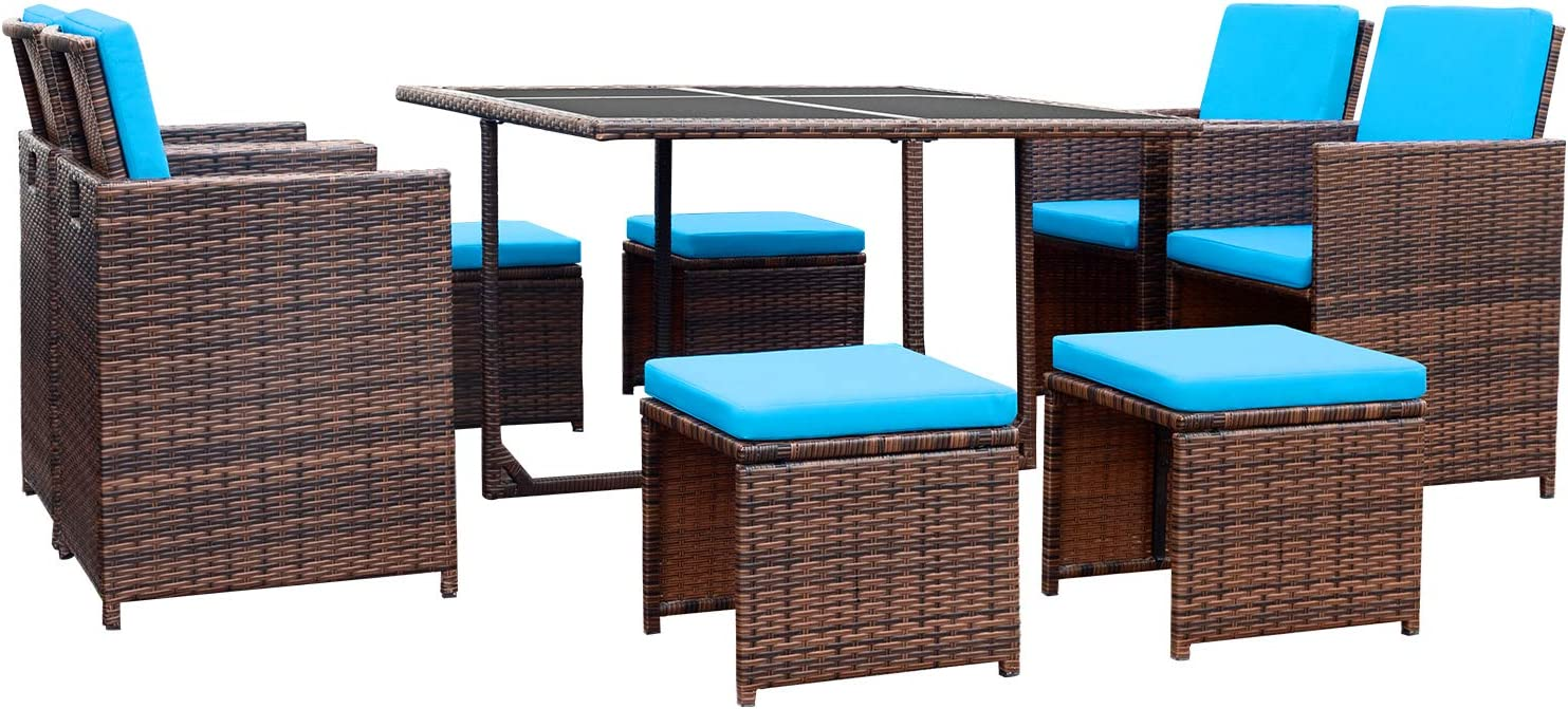 Devoko 9 Pieces Patio Dining Sets Outdoor Space Saving Rattan Chairs With Glass Table Patio Furniture Sets Cushioned Seating And Back Sectional Conversation Set Blue Garden Outdoor