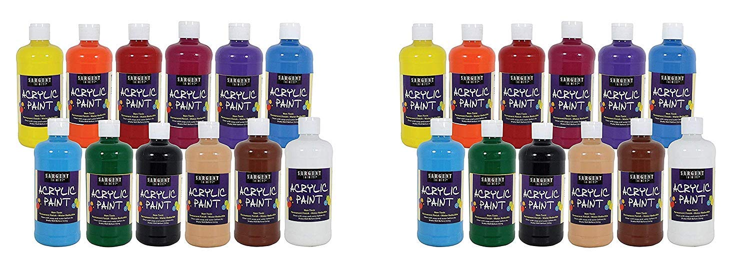 Sargent Art 24-2498 Count Artist Quality Acrylic Paint Set, 12 (2 X Pack of 12) by Sargent Art