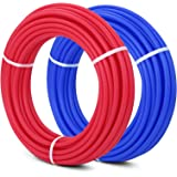 Happybuy 1/2 Inch PEX Tubing Potable Water Tube 2 Rolls X 100 FT PEX-B Plumbing Pipe Non-Barrier Coil for Hot Cold Potable Water Plumbing and Open Loop Radiant Hydronic Heating Systems (2X100Ft)