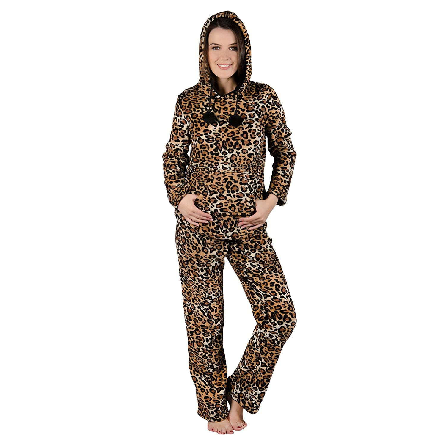 Ladies Brown Leopard Print Hood Fleece Pyjama Set PJs Top   Bottoms  Nightwear S  Amazon.co.uk  Clothing 61b2851d5