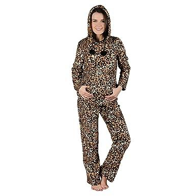 Ladies Brown Leopard Print Hood Fleece Pyjama Set PJs Top   Bottoms  Nightwear S 79be64659