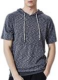 Xswsy XG Men's Hooded Drawstring Short Sleeve Top Blouse T Shirt