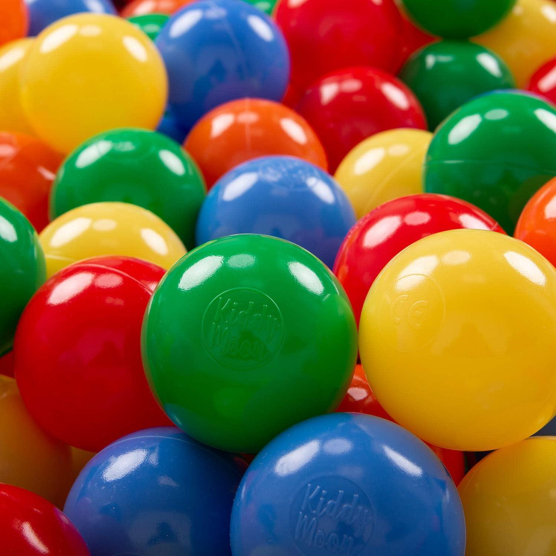 KiddyMoon 300 ∅ 7Cm Bolas Colores De Plástico para Piscina Certificadas para Niños, Amarillo Verde Azul Rojo Naranja