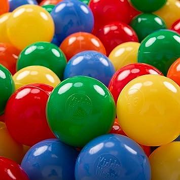 KiddyMoon 100 ∅ 7Cm Bolas Colores De Plástico Para Piscina Certificadas Para Niños, Amarillo Verde Azul Rojo Naranja