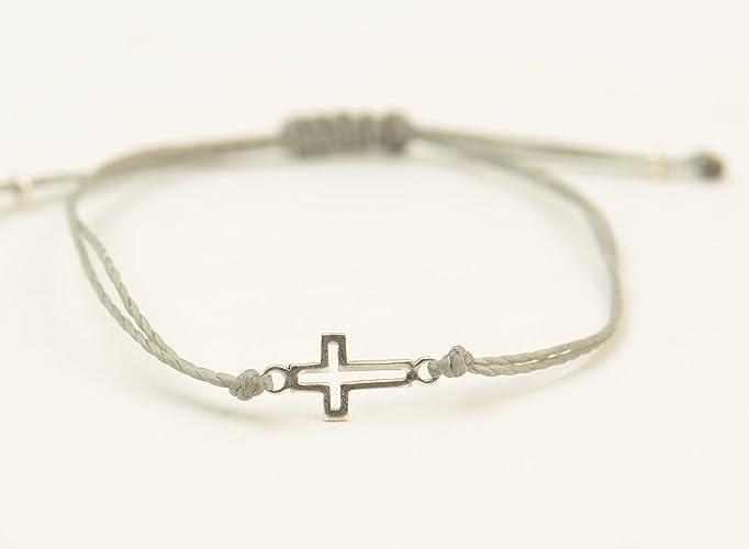 Amazon Com Sterling Silver Cross Charm Bracelet Mens Or Women Gift