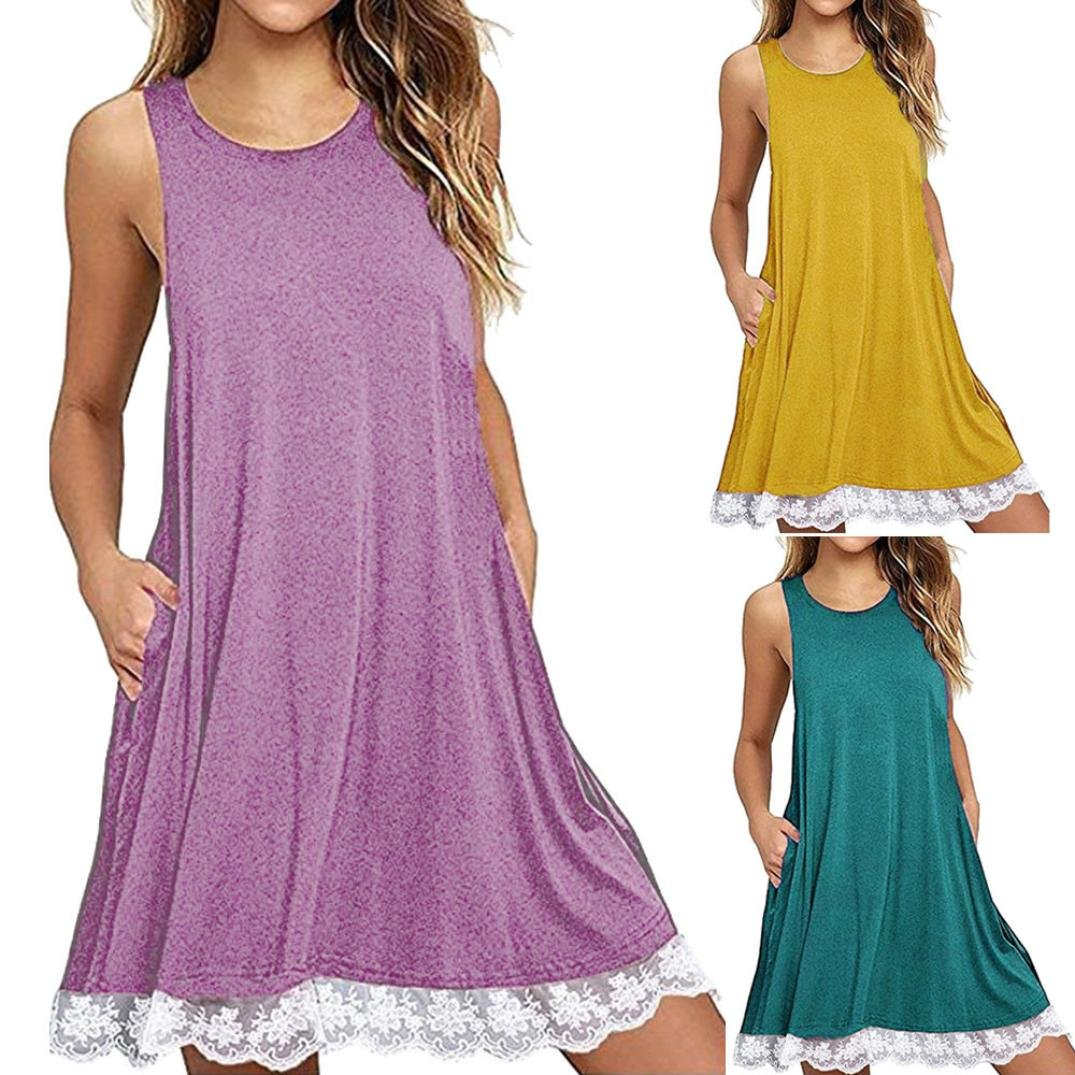 Misaky Women O Neck Casual Lace Sleeveless Above Knee Dress Loose Casual Dress at Amazon Womens Clothing store: