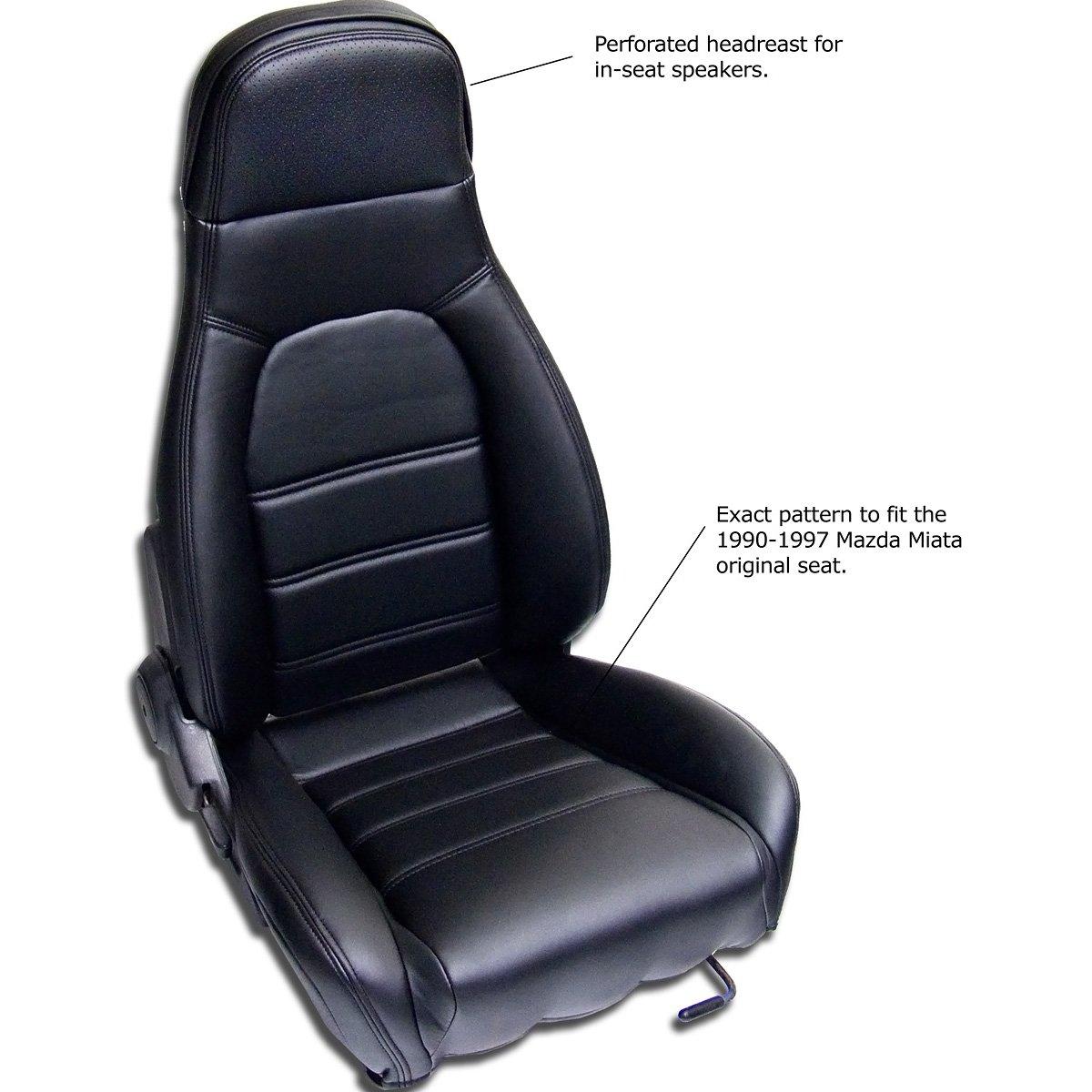 Amazon Mazda Miata Front Seat Cover Kit For 1990 1996 Standard Seats Black Simulated Leather Automotive