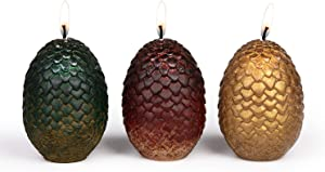 "Game of Thrones Sculpted Dragon Egg Candles, Set of 3 - Perfect for GoT Fans - 2 1/2"" each (Limited Edition)"