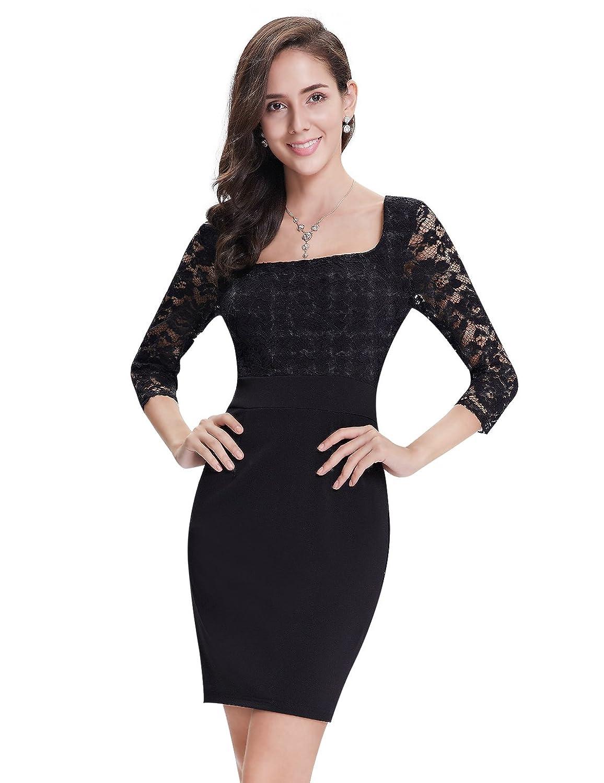 Alisapan Damen Langarm Eckig Ausschnitt Kurz Casual Kleid 05350