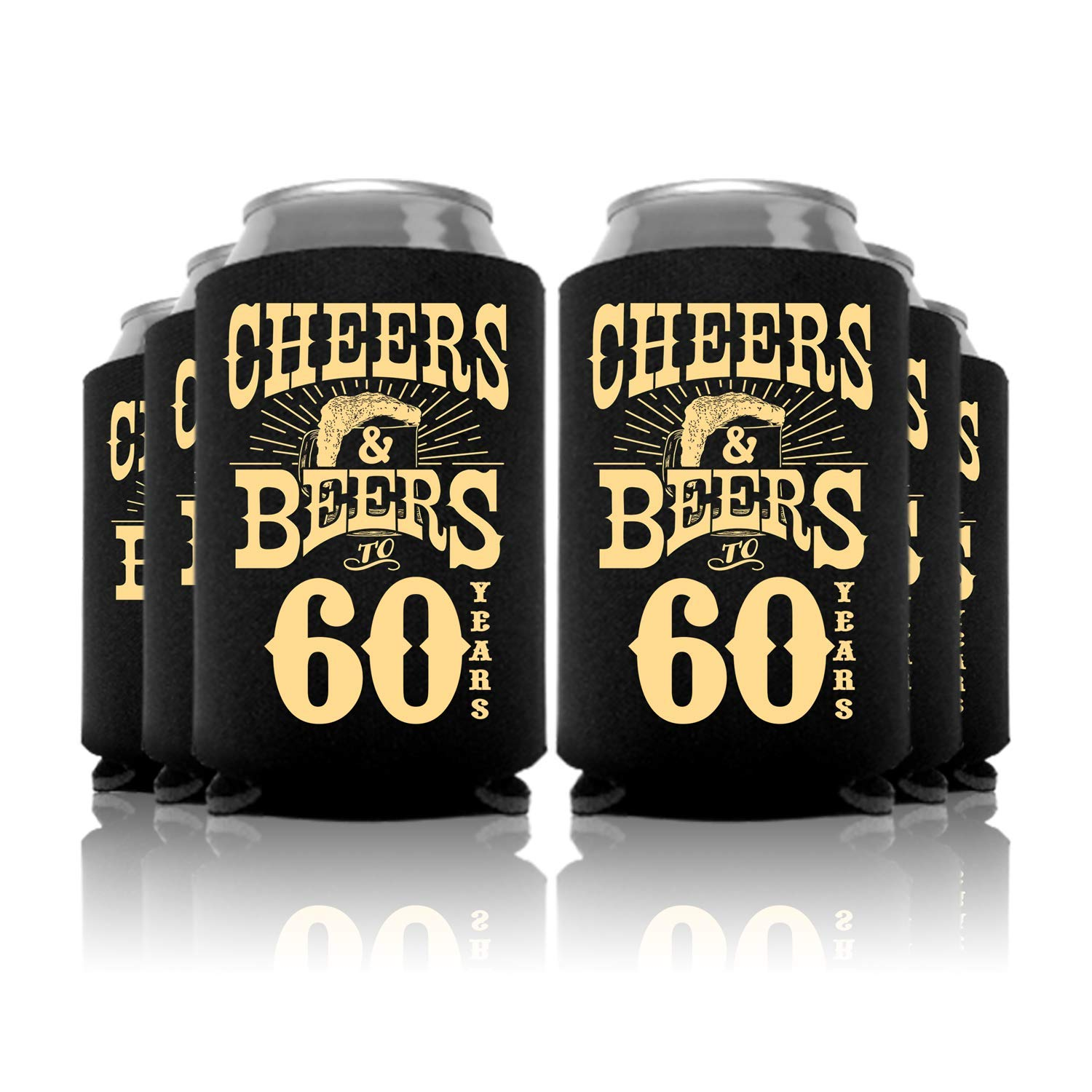Cheers and Beers to 60 Years Birthday Can Coolers Party Favor 48 Pc