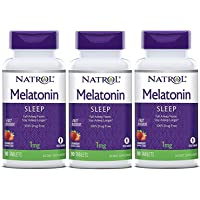Natrol Melatonina tabletas de disolución rápida, sabor a fresa, 1 mg, Paquete de 3