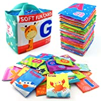 26 Pieces Soft Alphabet Cards with Cloth Storage Bag for Babies Infants, Toddlers...
