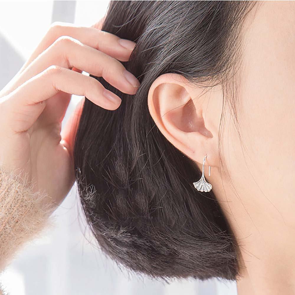 Leiothrix Ginkgo Leaf Earrings Stud Cute Korean Style Jewelry for Women and Girls
