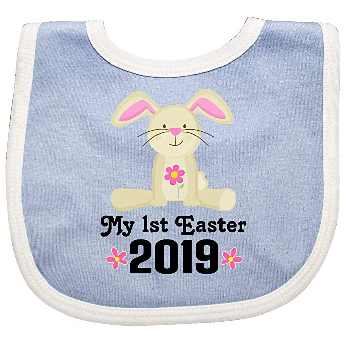 Inktastic 1st Easter 2019 Girls Bunny Rabbit Baby Bib Babys First Childs Holiday