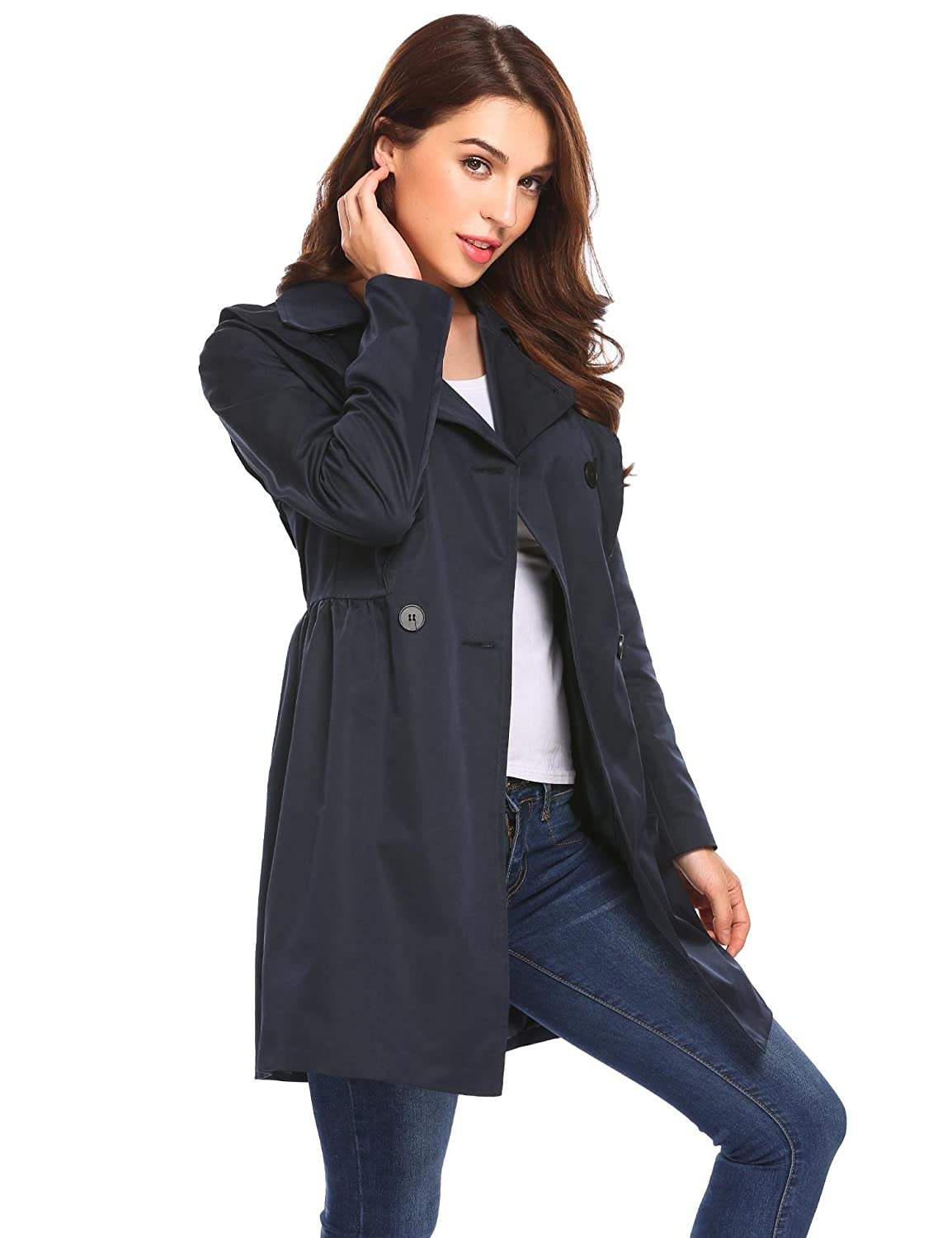 099cdca20ed Amazon.com  Bulges Women Turn Down Collar Double Breasted Slim A-Line Black  Trench Coat with Belt  Clothing
