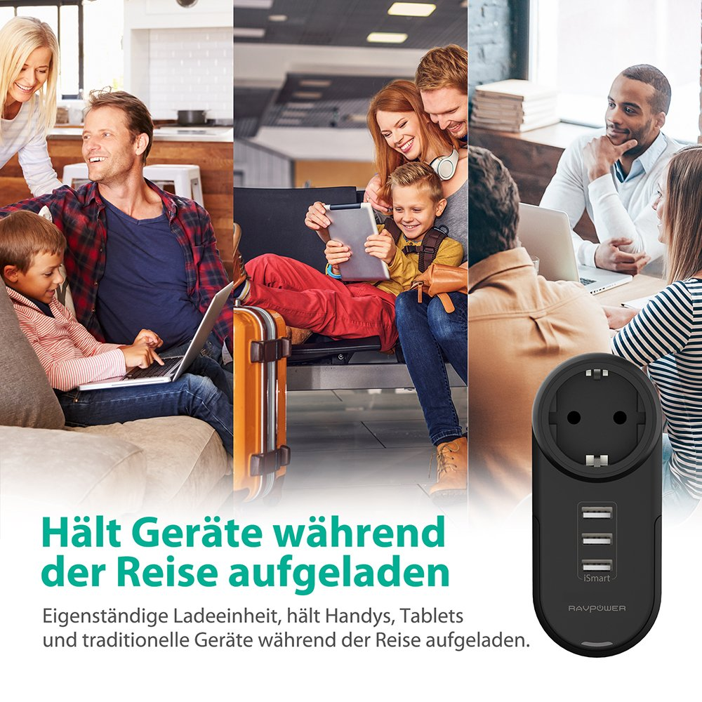 Powerbank usw Galaxy S9 S8 Plus iPad Pro Air Mini RAVPower Steckdosenadapter mit 3 USB Anschl/üssen 4-in-1 USB Steckdose Adapter f/ür iPhone X XR XS XS Max 8 7 6 Plus