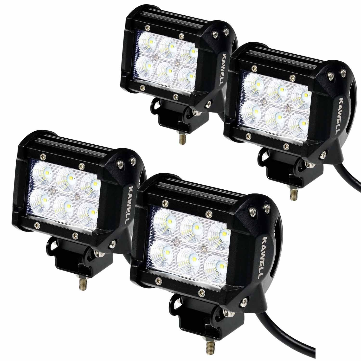 Kawell 4pcs 4 18w Cree Led Work Light Bar Flood Beam 60 Car Blue Red Rocker Switch Wiring Harness With 40a Relay Degree Waterproof For Off Road Truck Atv Suv Jeep Boat 4wd Auxiliary Driving